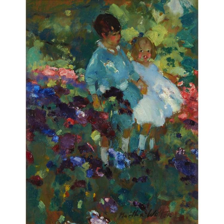 MARTHA WALTER, (AMERICAN 1875-1976), TWO CHILDREN IN A GARDEN