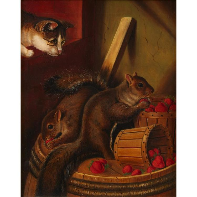 ATTRIBUTED TO SUSAN CATHARINE WATERS, (AMERICAN 1823-1900), TWO SQUIRRELS EATING STRAWBERRIES WATCHED BY A CAT