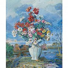 DAVID DAVIDOVICH BURLIUK, (AMERICAN/UKRAINIAN 1882-1967), STILL LIFE OF FLOWERS IN A LANDSCAPE