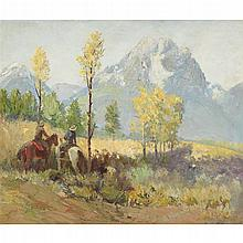 RAPHAEL LILLYWHITE, (AMERICAN 1891-1958), COWBOYS IN A MOUNTAIN LANDSCAPE