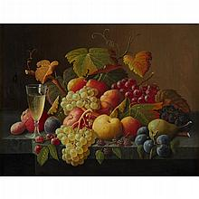 SEVERIN ROESEN, (AMERICAN 1815-1872), STILL LIFE WITH FRUIT AND CHAMPAGNE