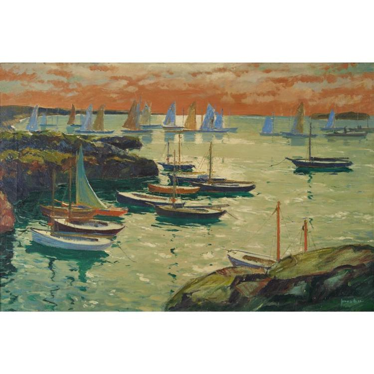JONAS LIE, (AMERICAN/NORWEGIAN 1880-1940), HARBOR SCENE