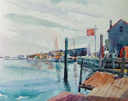 LESLIE HENDERSON, (AMERICAN 1895-1988), DOCK AT CAPE MAY, NEW JERSEY