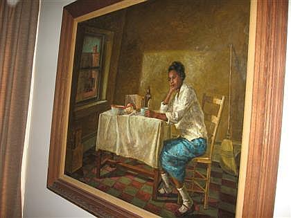 THOMAS YERXA, (AMERICAN B. 1923), WOMAN SEATED AT WINDOW