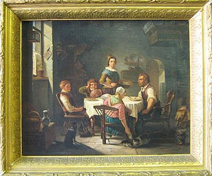 ATTRIBUTED TO FRANZ WIESCHEBRINK, (GERMAN 1818-1884), DINNER WITH THE FAMILY