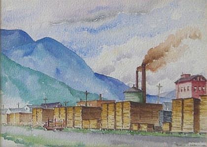 HERBERT S. KATES, (AMERICAN 1894-1947), INDUSTRIAL LANDSCAPE