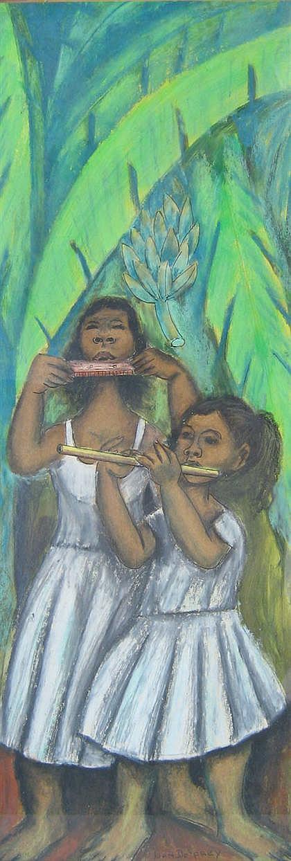 JUAN DE PREY, (PUERTO RICAN 1906-1962), GIRLS WITH FLUTES