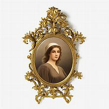 Large KPM hand-painted porcelain plaque, Ruth, after Charles Landelle (French, 1821-1908)