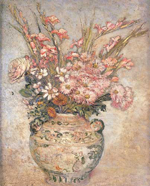 ETHEL A. WALLACE (American 1885-1968) STILL LIFE OF MIXED FLOWERS IN A VASE oil on canvas, laid down 30 x 25 in. (76.2 x 63.5 cm). in a Newco Macklin frame designed by Stanford White. Estimate