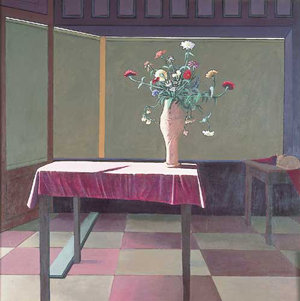 JIMMY LUEDERS (American 1927-1994) ZINIAS ON A PINK TABLECLOTH signed and inscribed 'J C Lueders / 6819 Greene St. / Phila. Penna' verso, also signed on stretcher, oil on canvas 60 x 60 in. (152.4 x 152.4 cm). Estimate