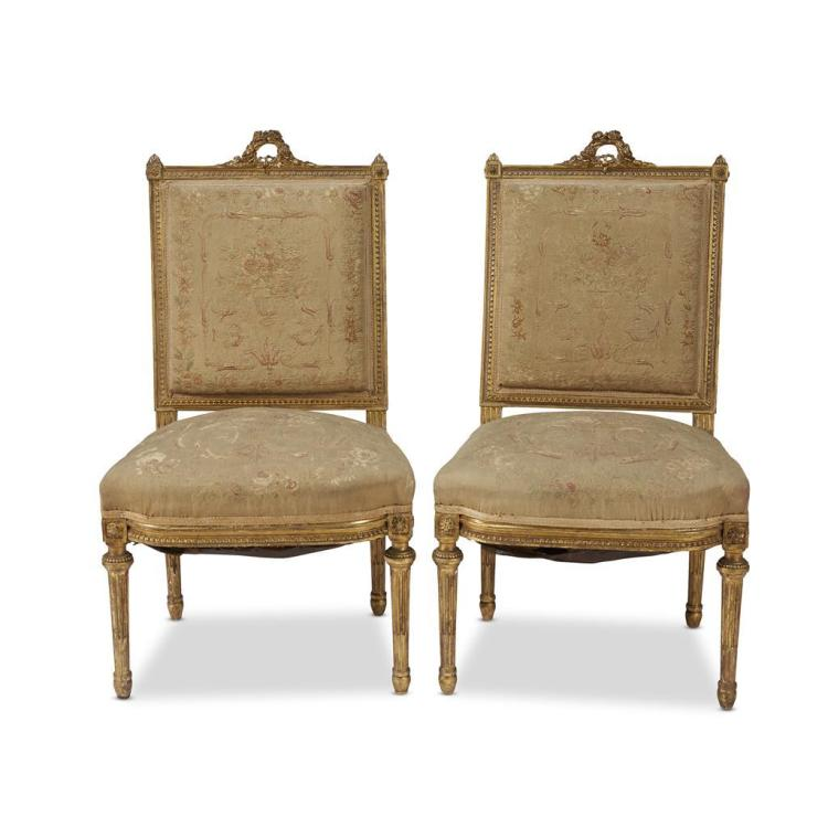 A pair of napoleon iii giltwood chaises la reine third qu for Chaise napoleon 3