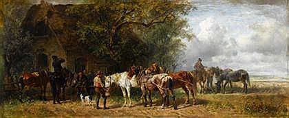 LUDWIG HARTMANN (GERMAN 1835-1902) REST STOP