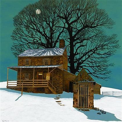 PETER SCULTHORPE, (AMERICAN B. 1948), FARM IN WINTER BY MOONLIGHT