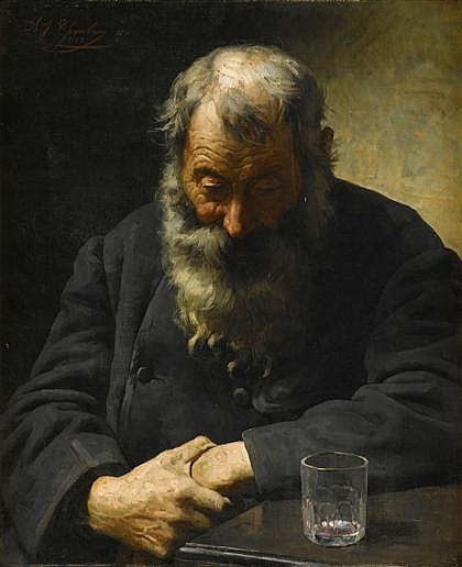 ALEXANDRE JACQUES CHANTRON, (FRENCH 1842-1918), THE EMPTY GLASS