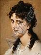 CHARLES ALEXANDRE COËSSIN DE LA FOSSE, (FRENCH 1829-1910), THE SMILING GIRL, Charles Alexandre Coëssin