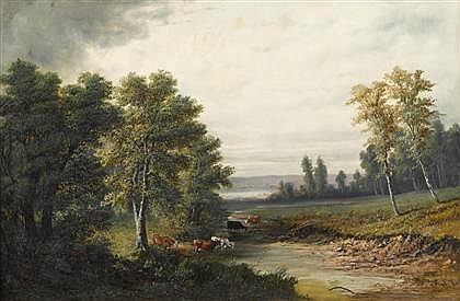 HENRY BOESE, (AMERICAN 1824-1863), CATTLE GRAZING