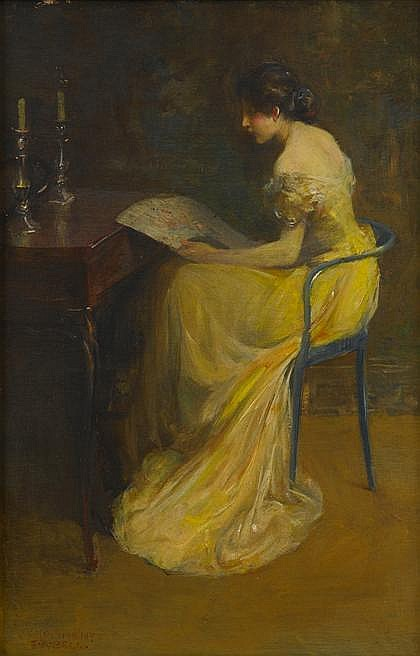 EDWARD AUGUST BELL, (AMERICAN 1862-1953), ELEGANT LADY IN INTERIOR
