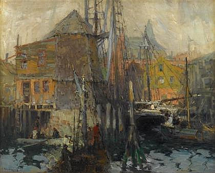 HARRY AIKEN VINCENT, (AMERICAN 1864-1931), A BUSY HARBOR