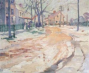 PAULETTE VAN ROEKENS (American 1896-1988)  VILLAGE IN WINTER