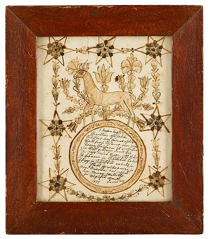 After Johann Adam Eyer (1755-1837), fraktur: taufschein, schuylkill county, pa, Ink and watercolor on paper, grained and painted framed