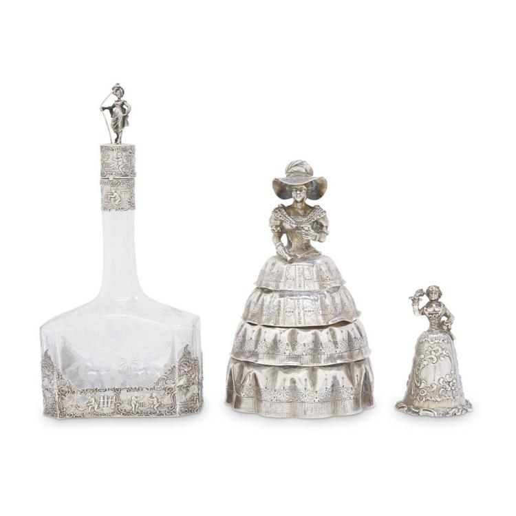 Three Continental silver figural table objects in the form of humorous coquettes, various makers, 19th century