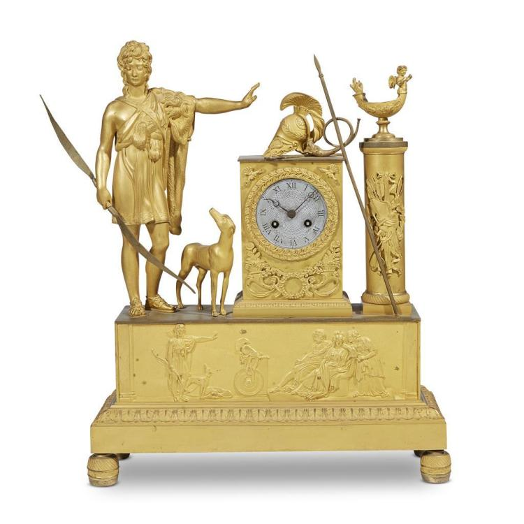 A Restauration ormolu figural mantel clock of Ares, circa 1830