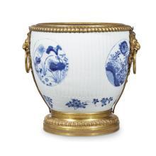 A Régence style ormolu-mounted Chinese porcelain cachepot, 19th century, the porcelain Kangxi Period