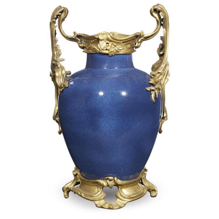 A Samson Louis XV style gilt-bronze mounted powder blue glazed porcelain vase, circa 1900