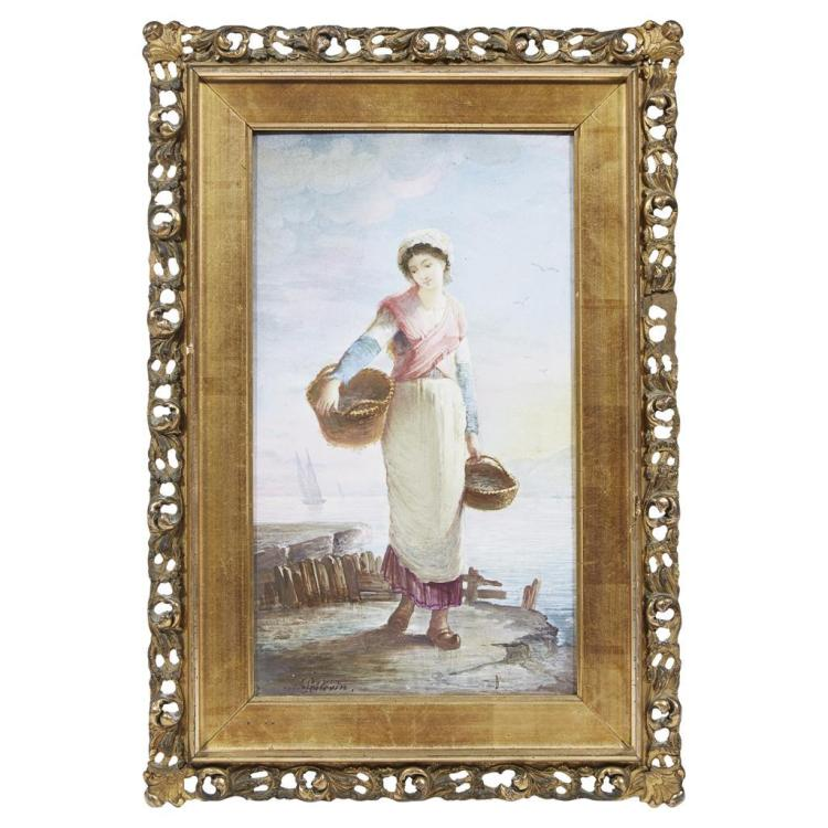 A Sèvres style painted porcelain plaque of a Bordeaux fisherwoman, signed Poisevin, 19th century