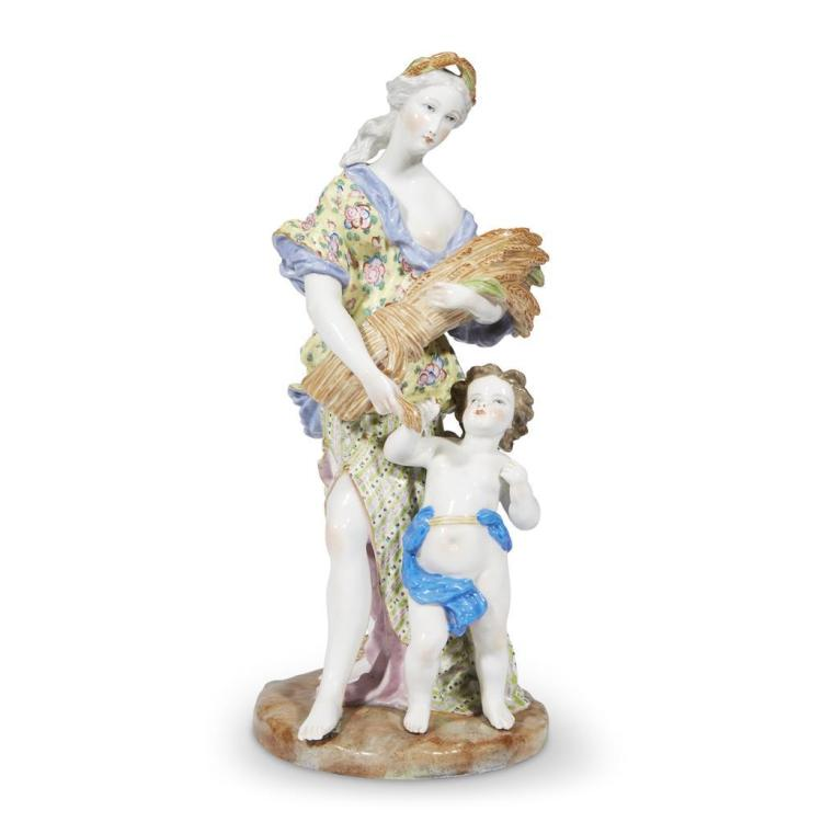 A large Meissen style porcelain figural group of Ceres, 19th century