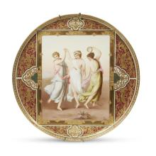A fine Vienna style hand-painted and parcel-gilt porcelain charger, The Three Graces, late 19th century