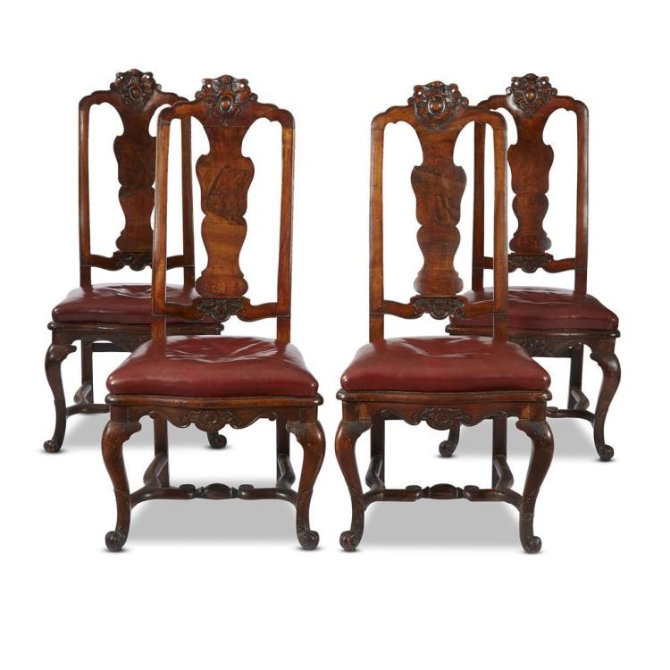 Four Portuguese Rococo figured walnut side chairs, mid 18th century