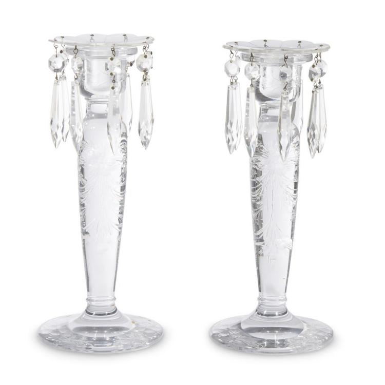 A pair of George III etched glass candlesticks, circa 1800