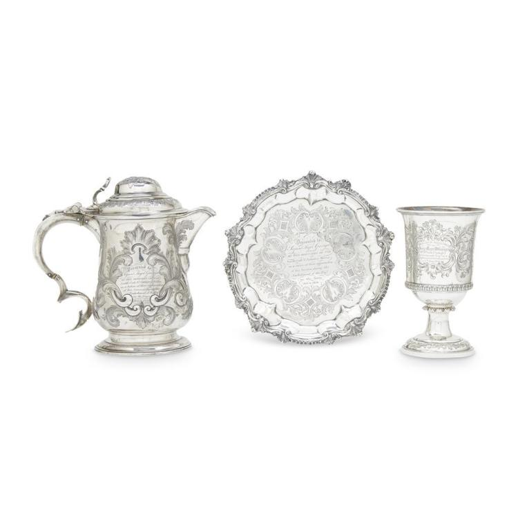 Three English sterling silver presentation pieces given to Sergeant Major W. Grainger, various makers and dates
