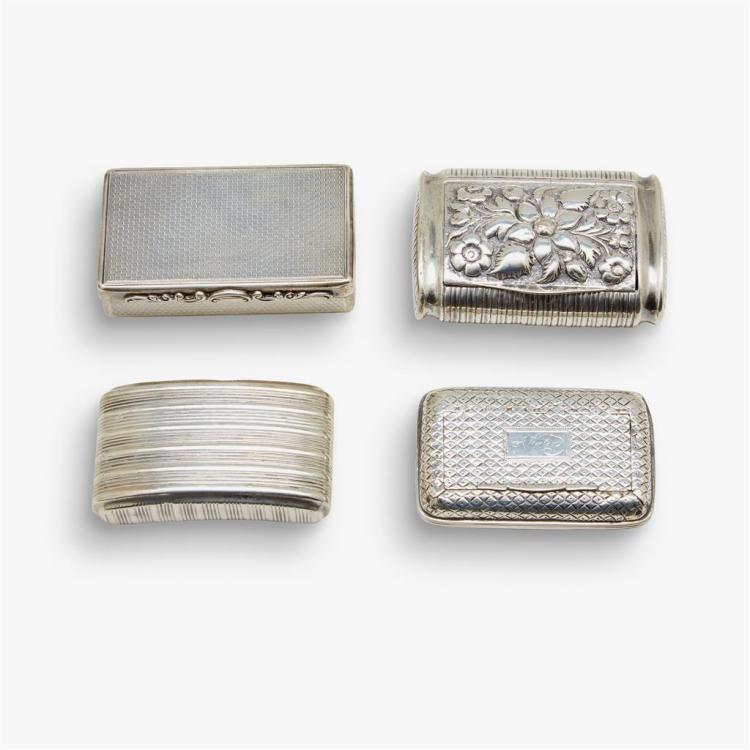 Four Georgian silver snuff boxes, various makers, Birmingham, 1813-41