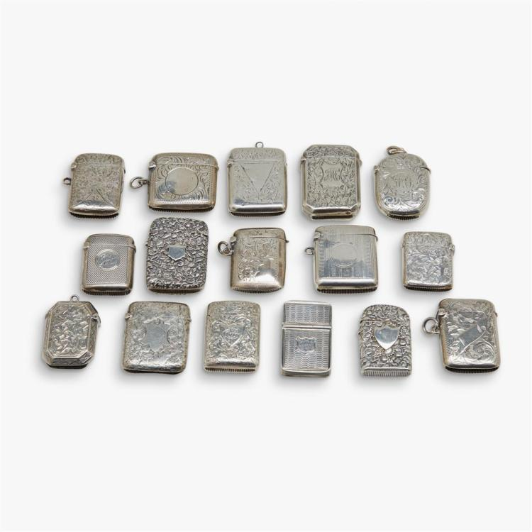 A collection of English silver match safes, various makers, mostly Birmingham, 19th/20th century