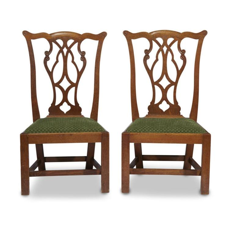 Two George III style mahogany children's side chairs, 19th century