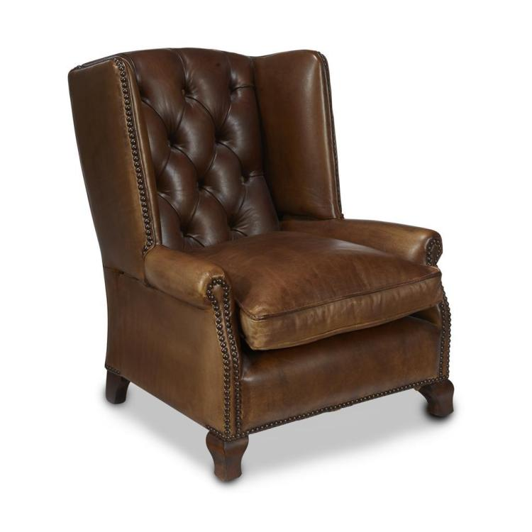A Victorian leather-upholstered child's wing chair, 19th century
