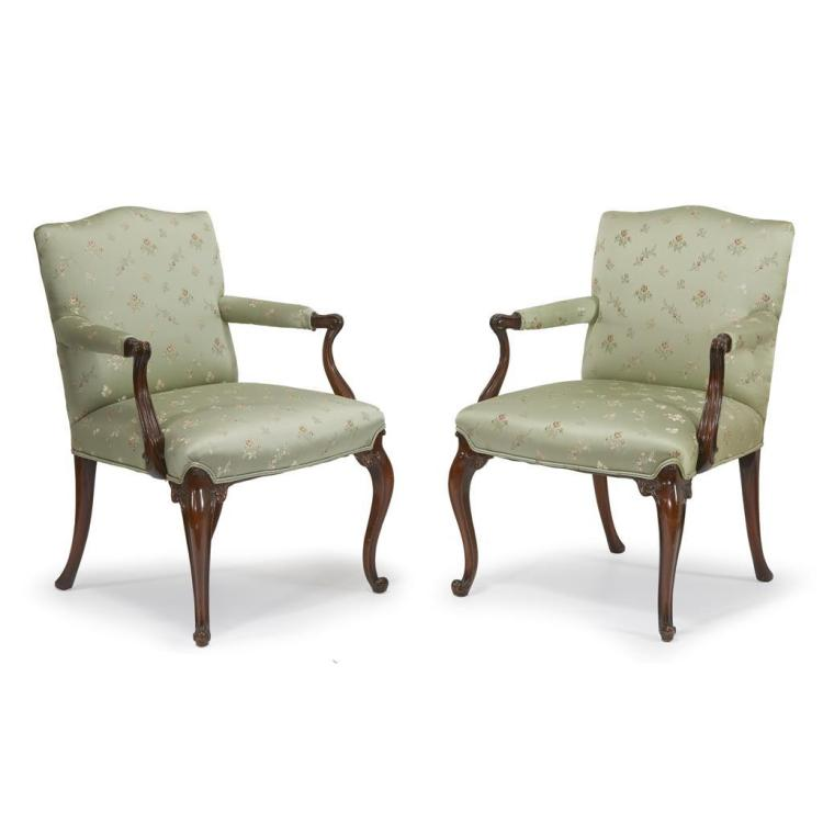 A pair of George III style mahogany armchairs, 19th/20th century