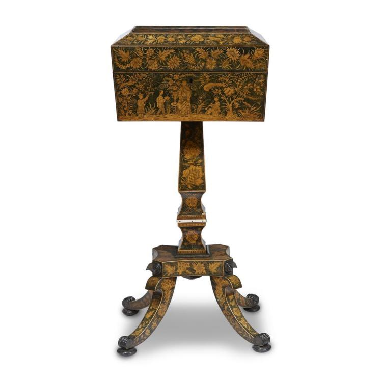 A Regency Chinoiserie penwork decorated satinwood teapoy, late 18th/early 19th century