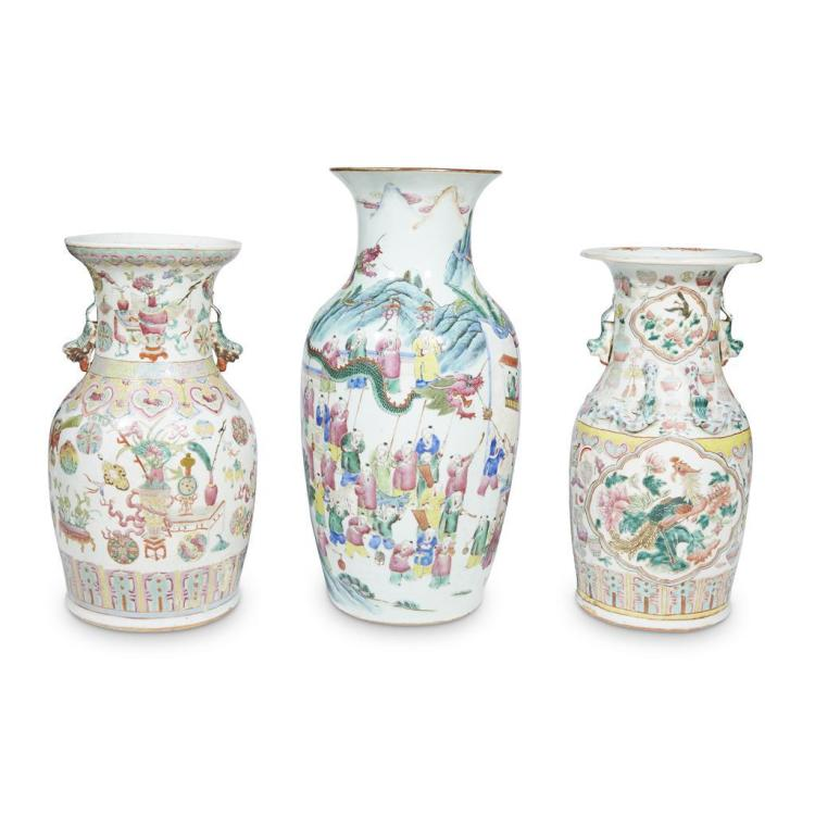 Three Chinese export porcelain famille rose baluster vases, late 19th/early 20th century