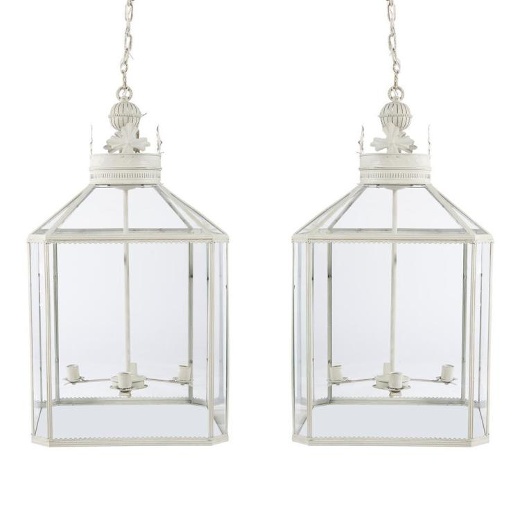 A pair of oversized cream-painted metal and glass four-light hall lanterns, contemporary