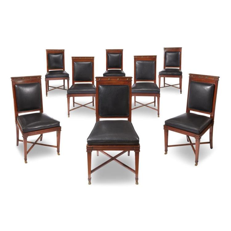 A set of eight Maison Jansen Empire style gilt-bronze mounted mahogany dining chairs, 1949