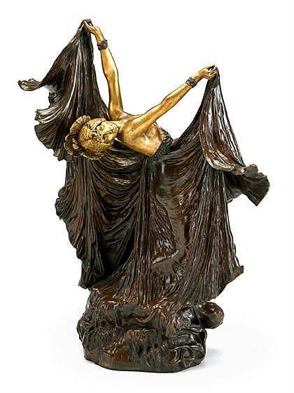Louis Chalon (French, 1866-1916), octopus dancer, Bronze, dark brown and gold patinas, modeled as a dancing nude woman with flowing ski