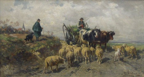 ADOLF CHELIUS, (GERMAN 1856-1923), LANDSCAPE WITH HAYWAGON AND SHEEP, HERDER AND DOG ONLOOKING