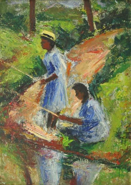 ETHEL V ASHTON (american 1896-1975) TWO GIRLS FISHING  oil on board 24 1/2 x 17 1/2 in