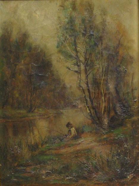 FREDERICK LEO HUNTER, (AMERICAN 1858-1943), FISHING IN A CREEK