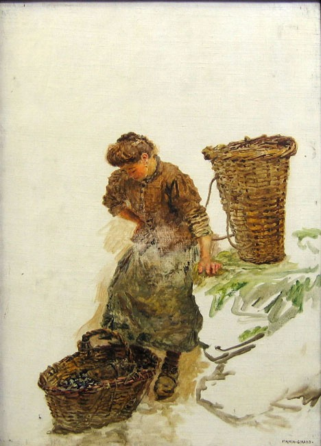 MARIE FRANCOIS FIRMIN-GERARD, (FRENCH 1838-1921), FISHERWOMAN WITH BASKETS