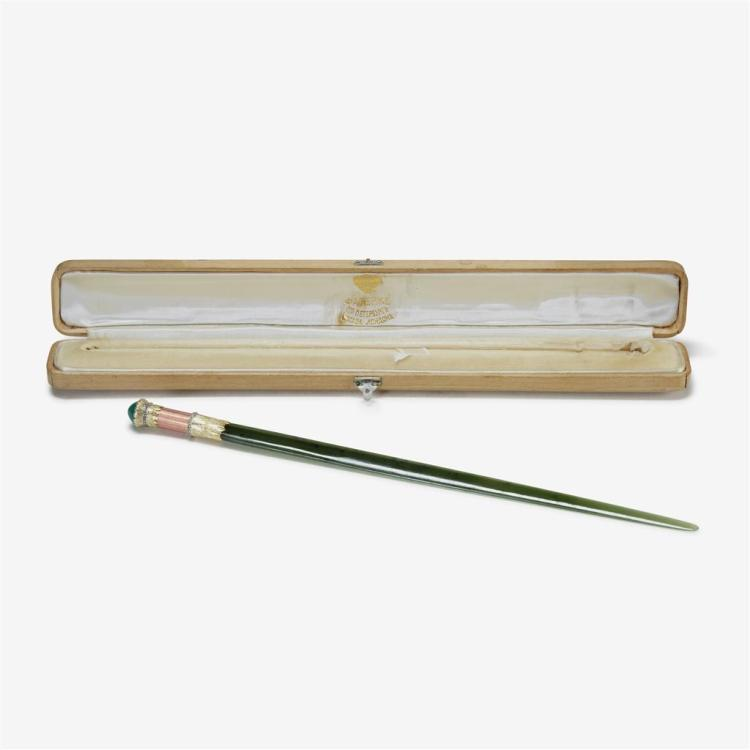 A faberge gold and gem mounted nephrite letter opener faber for Rose gold letter opener