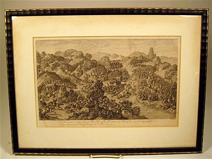 After Isidore Stanislas Helman (French, 1743-1806), late 18th century, Two engravings from the Conquests of Emperor Qianlong; framed. (